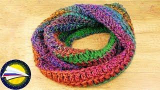шарф снуд крючком  Осенний шарф с красивым узором  Простые и быстрые идеи вязания крючком