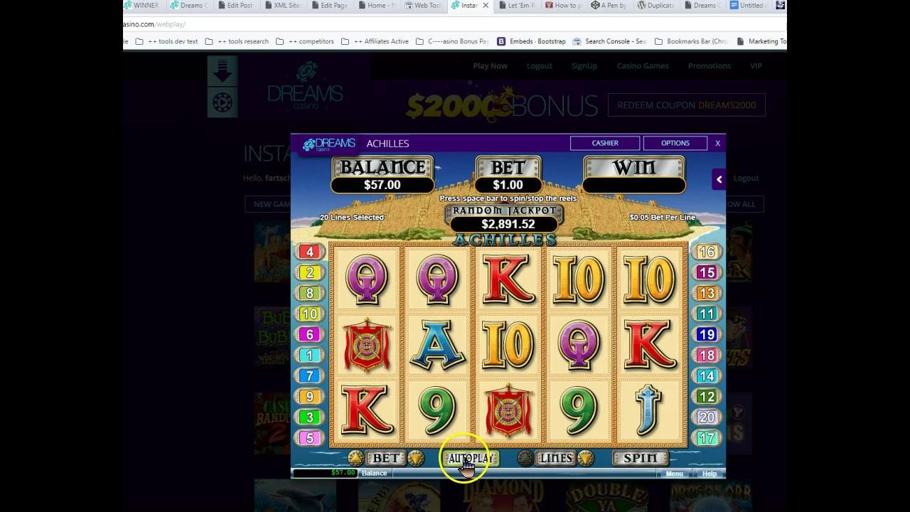 Achillies Pokie Slot At Dreams Casino 112 No Deposit Bonus Code