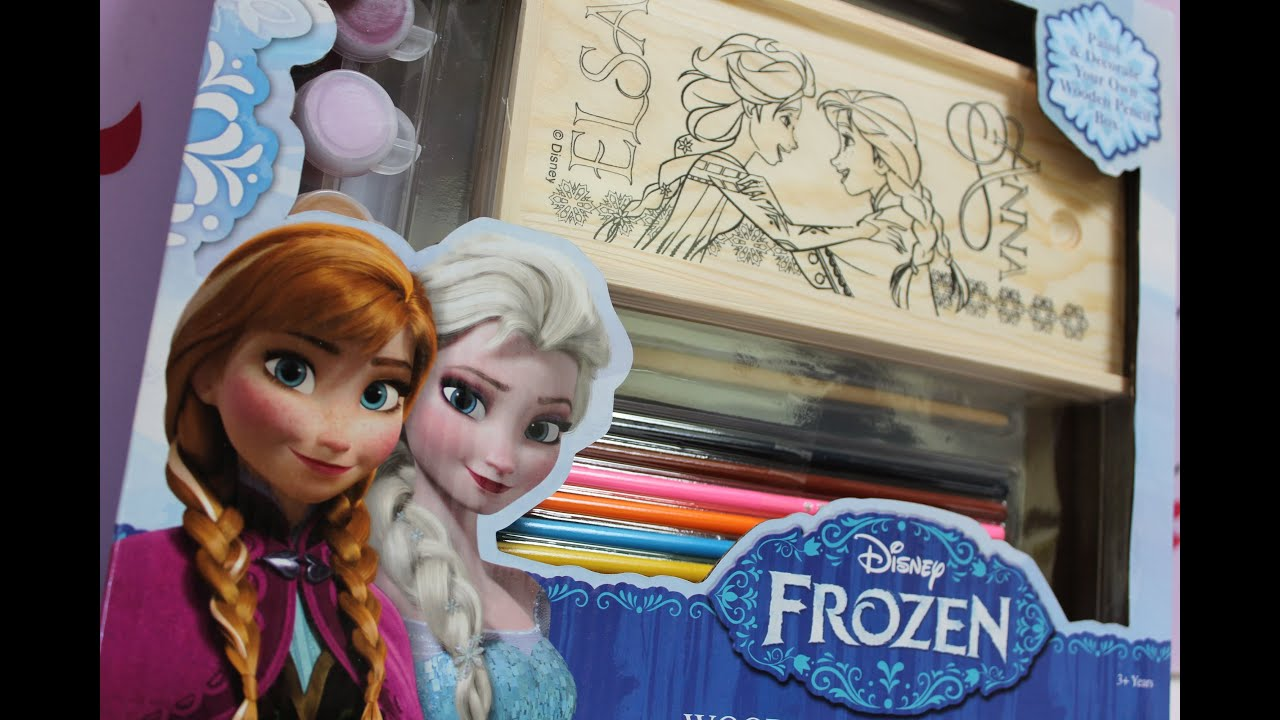 Disney FROZEN Decorate And Paint Anna Elsa On The Wooden Pencil Box Set