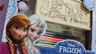 disney frozen decorate and paint anna elsa on the wooden pencil box set
