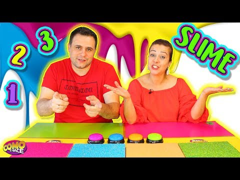 UN DOS TRES Slime !  Slime Challenge | 1 2 3 slime con mi marido !