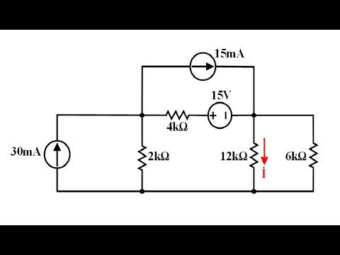 Devre Teorisi Ders 36 Süperpozisyon Yöntemi Örnek 2 (Superposition Example 2)