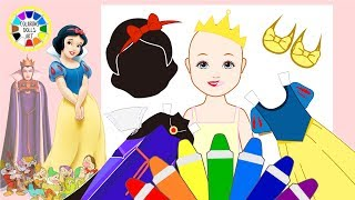 Coloring Pages+Cartoons Paper Doll DISNEY PRINCESS Snow White Wedding Costumes makeover