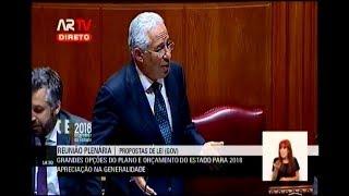02-11-2017 - Debate na Generalidade OE 2018 | 3ª Resposta do Primeiro-Ministro a Deputados