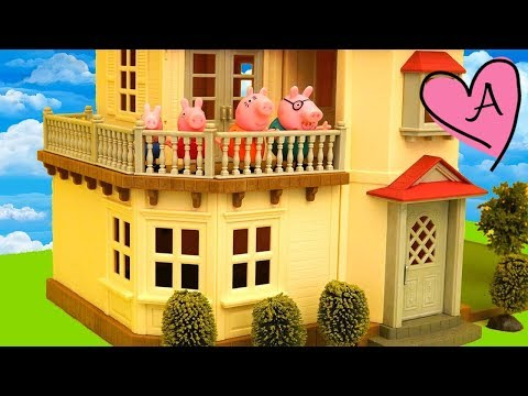 Peppa Pig en español y unboxing de casa de muñecas de Calico Critters - Peppa se muda a casa nueva