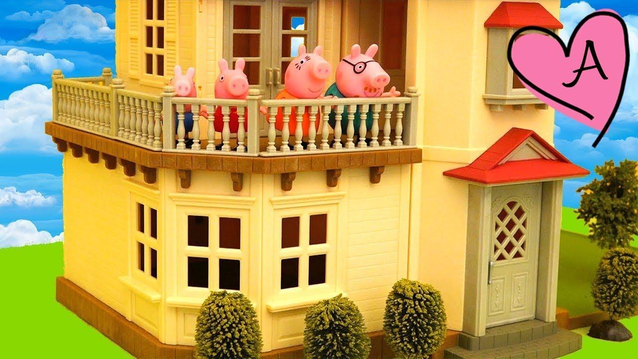 Peppa Pig no quiere mudarse de casa Jugando muecas y juguetes con Andre para nias y nios