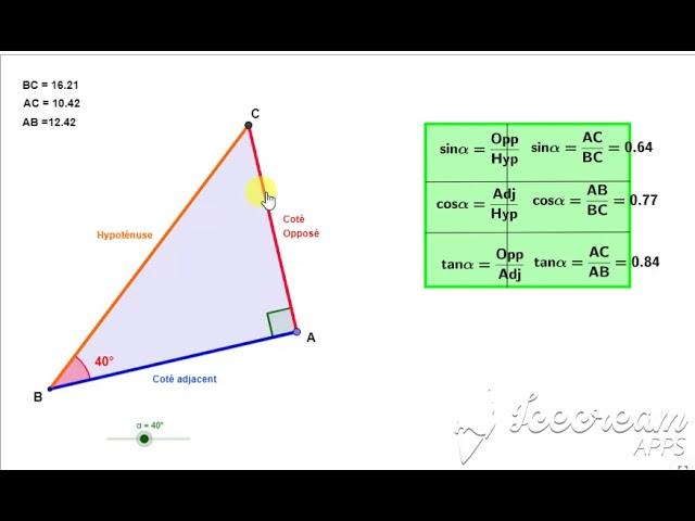 Exercices de trigonométrie (cos,sin et tan)