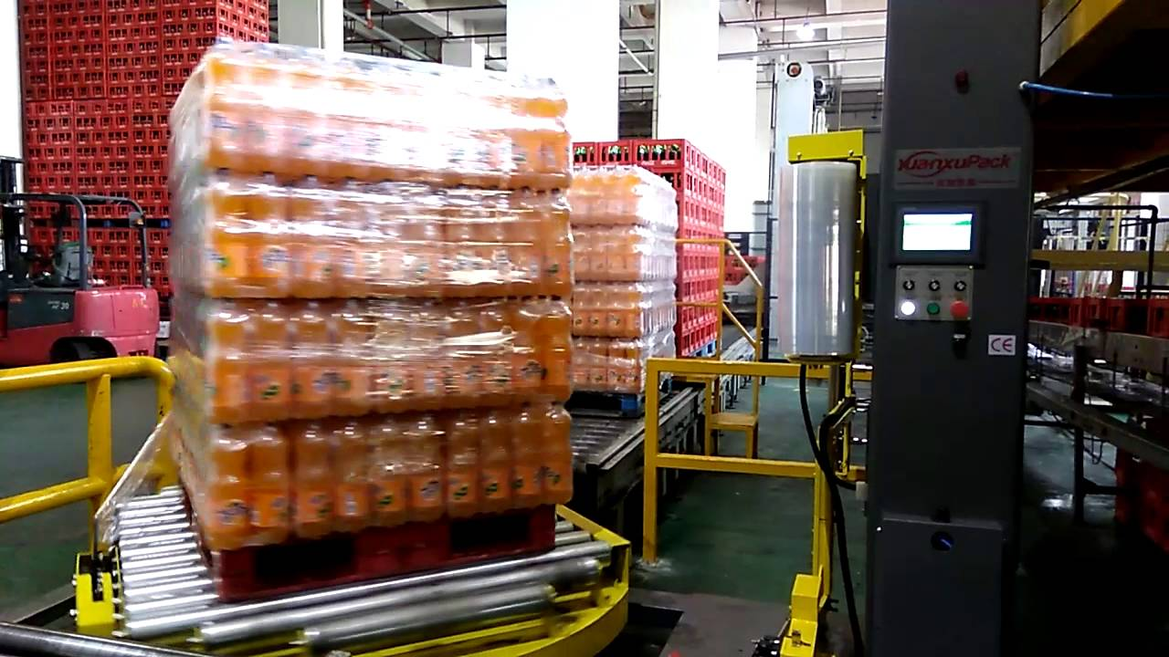Full Automatic Coco Cola Beverage Pallet Stretch Wrapping