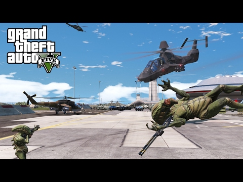 GTA 5 MODS | UFO & ALIENS INVASION ATTACKS THE AIR FORCE BASE | MILITARY Vs ALIENS PART 1