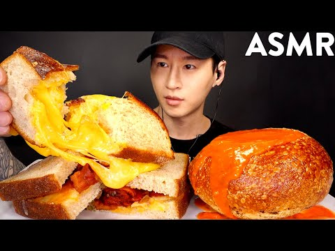 ASMR EXTRA CHEESY GRILLED CHEESE & TOMATO SOUP MUKBANG (No Talking) EATING SOUNDS | Zach Choi ASMR