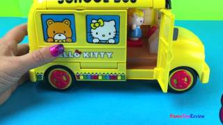 Hello Kitty School bus with desks and school supplies