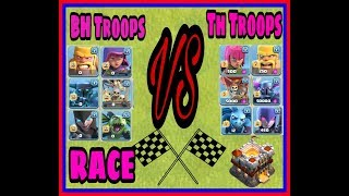 TH Troops VS BH Troops Race | Which base troops are faster| coc troops racing