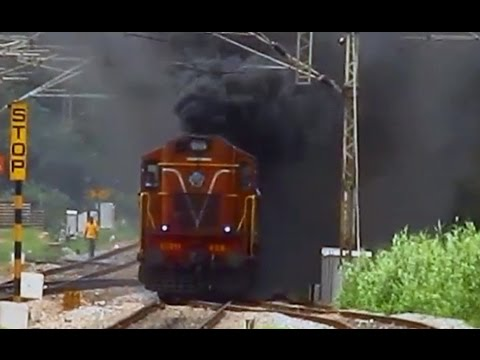 Furious Firing and Smoking by Twin ALCO - Karnataka Superfast Express Indian Railways