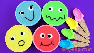 Learn Colors with 4 Kinetic Sand Ice Cream Cups Kinder Joy Surprise Eggs Nursery Rhymes Fun for Kids