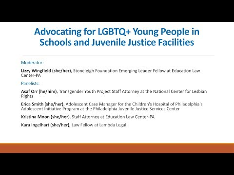 Webinar: Advocating for LGBTQ+ Young People in Schools and Juvenile Justice Facilities