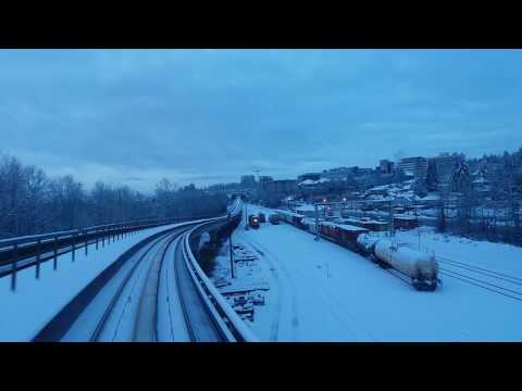 Snow and skytrain Vancouver BC