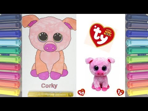 TY BEANIE BOOS CORKY THE PIG COLORING PAGE WITH SHARPIE MARKERS 810e5bae133d