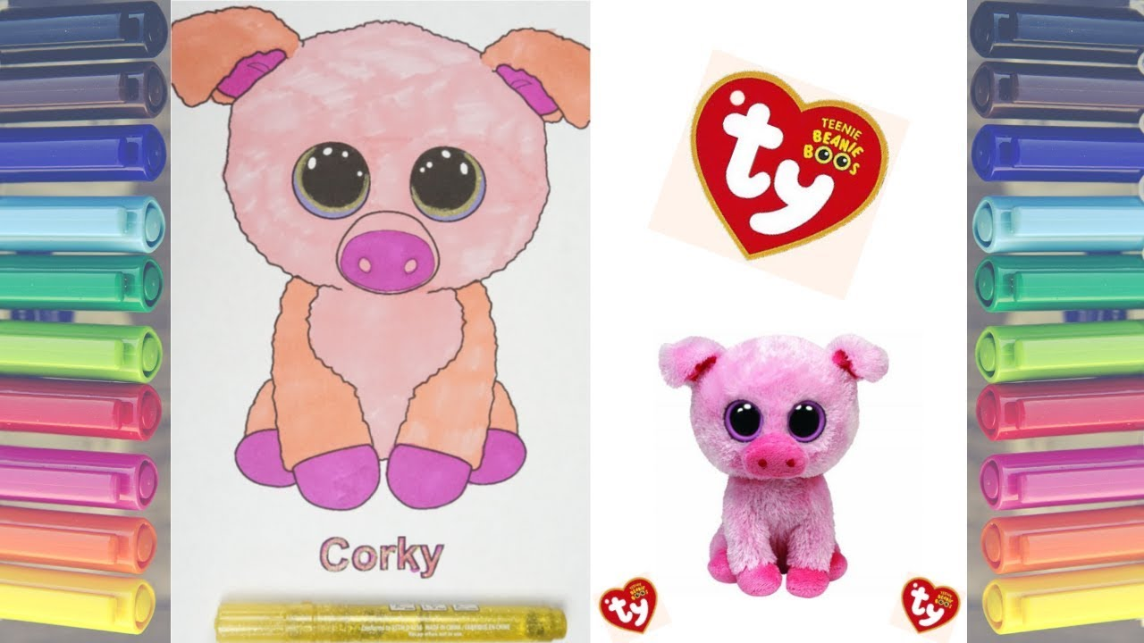e57539be1f0 TY BEANIE BOOS CORKY THE PIG COLORING PAGE WITH SHARPIE MARKERS ...