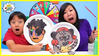 Pancake Art Challenge VTubers Ryan's World Edition! Learn to make DIY Pancake Art!!