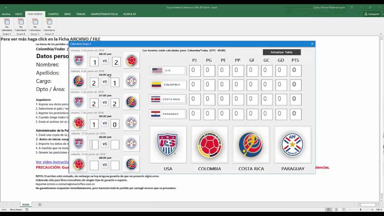 Plantilla Fixture Excel para jugar polla, quiniela de la Copa ...