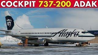 COCKPIT 737-200 Scenic Approach into Adak Alaska
