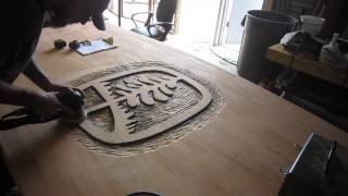 Relief Carving On Solid Sapele Conference Table