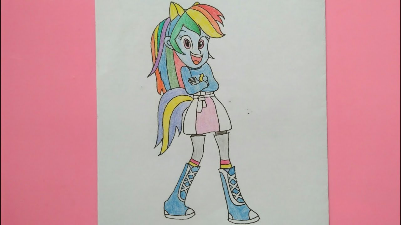 Equestria Girl Rainbow Dash Mari Belajar Menggambar Dan Mewarnai My Little Pony Youtube