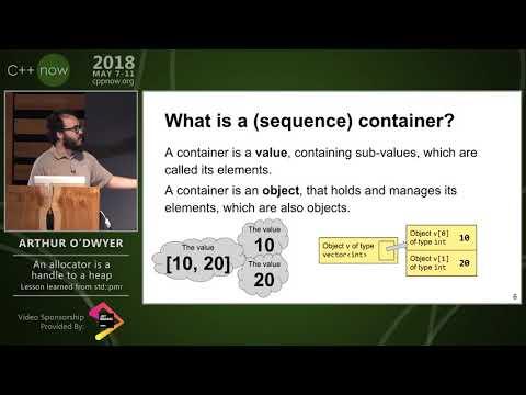 "C++Now 2018: Arthur O'Dwyer ""An Allocator Is A Handle To A Heap"""