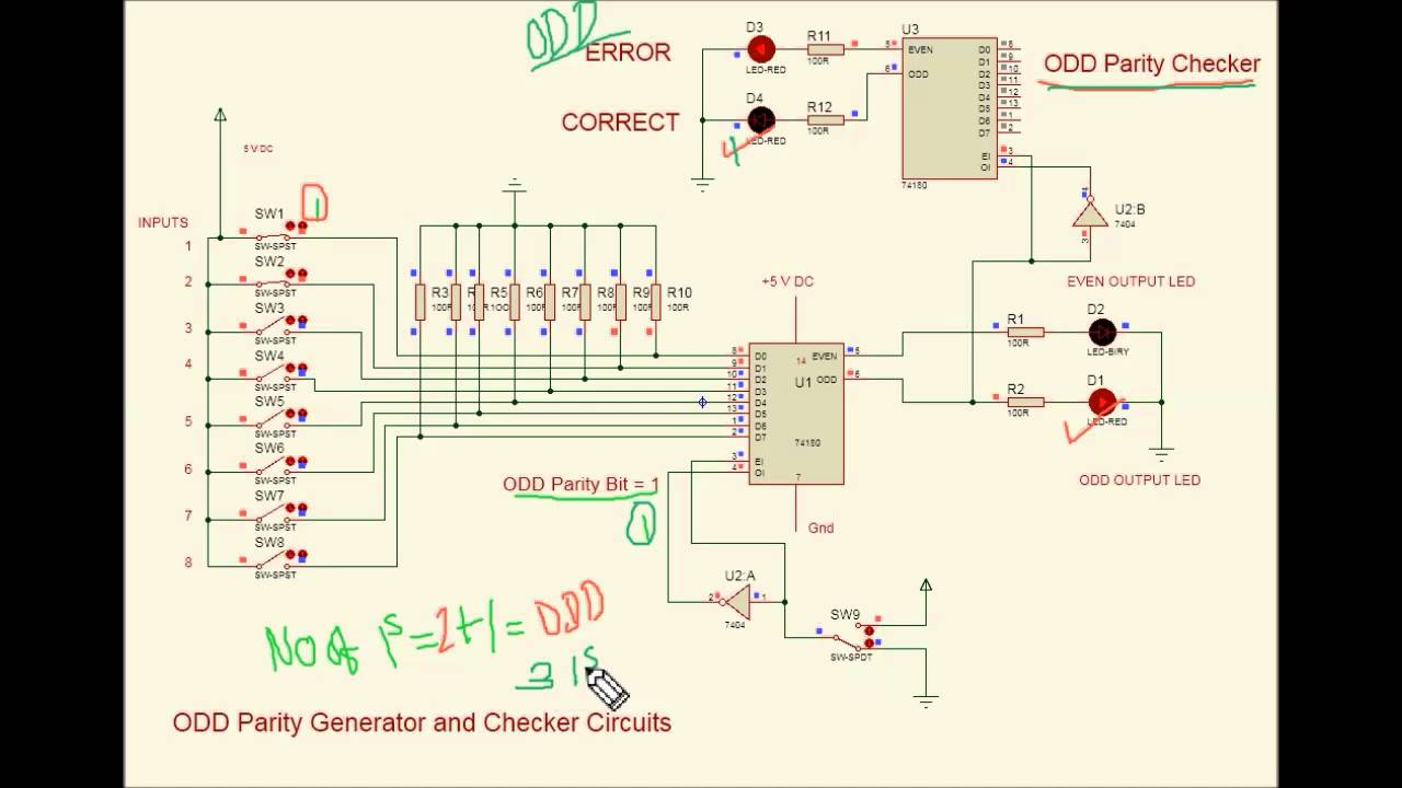 hight resolution of 8 bit odd parity generator using 74180