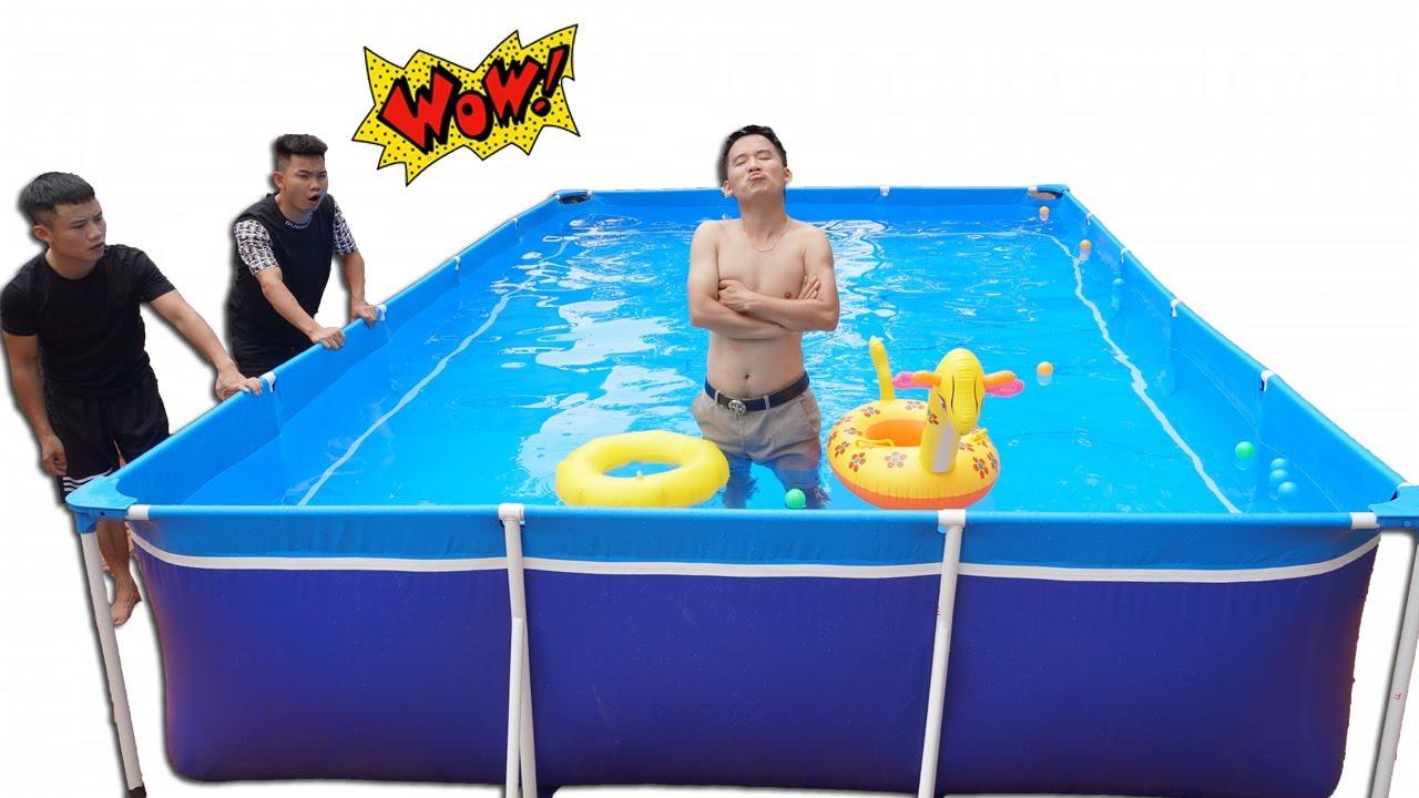 Hưng Troll   Bị Trẻ Trâu Khinh Thường Thách Thức Làm Bể Bơi Siêu To Khổng Lồ Và Cái Kết