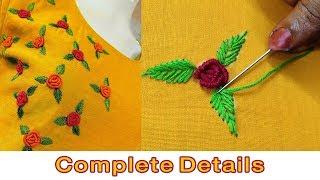 beautiful bullion rose hand embroidery  | normal needle stitch | embroidery designs on kurti | #273