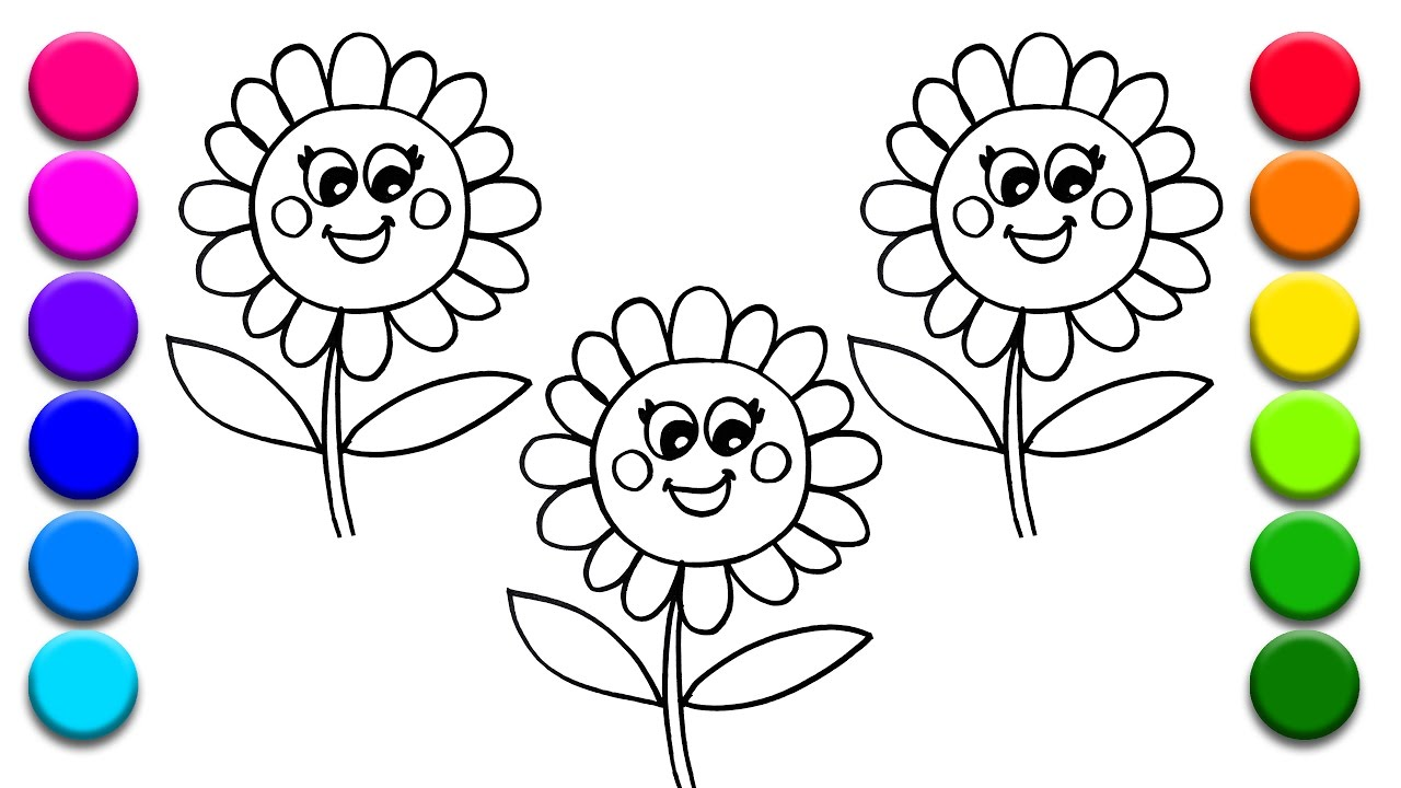 Coloring 3 Flowers Learning Colors For Kids With Coloring