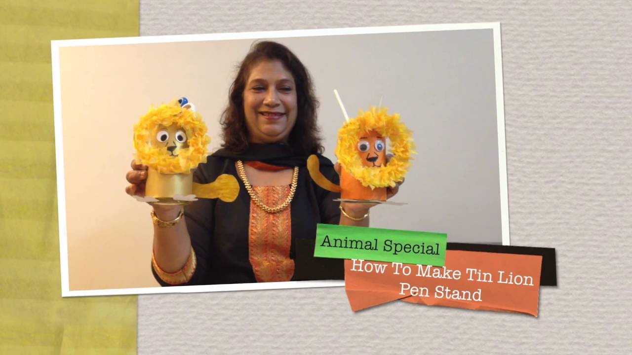How to Make Tin Lion Pen Stand | Animal Special