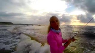 Florida Girl Beach Snook Fishing & How To GoPro Mullet Run Video Full
