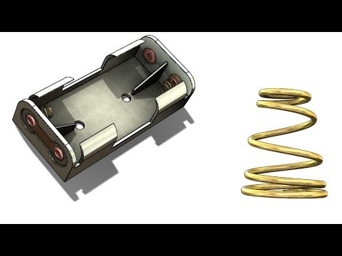 SolidWorks Tutorial #290 : AAA battery holder with variable compression spring
