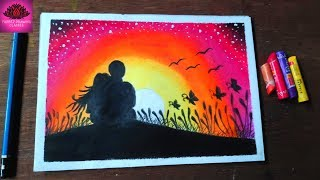 How to Draw scenery Sunset romantic couple drawing with oil pastel step by step
