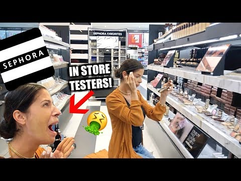A FULL FACE USING SEPHORA MAKEUP TESTERS ...gross! thumbnail