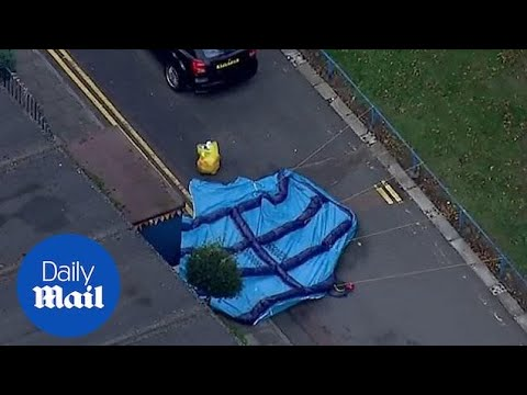 Aerials of location where teenager was stabbed in Tulse Hill