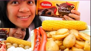 Asmr Whisper Marabou Dark Chocolate, Potato Salad, Corn Cob, Red Hot Dogs