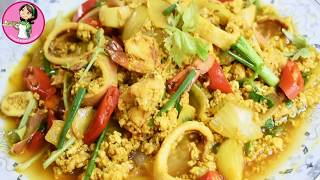 жарить краб или морепродукты с порошком карри ผัดผงกะหรี่  Fried crab in yellow curry