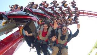 X-Flight ridercam on-ride reverse HD POV Six Flags Great America