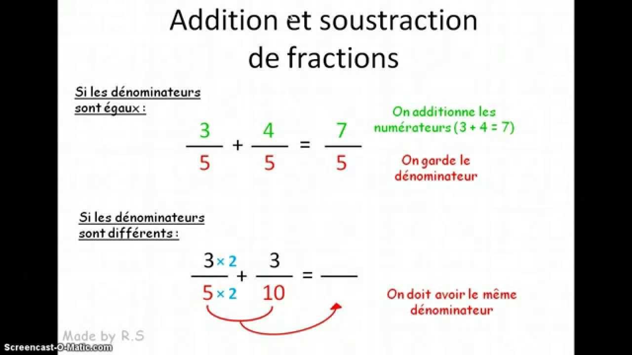 5e Addition et soustraction de fractions - YouTube