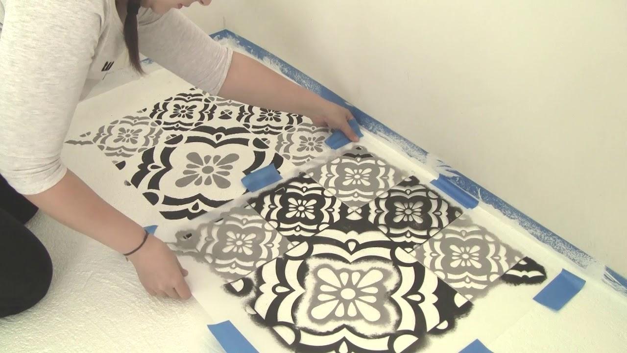 C mo pintar un piso de cemento con stencil youtube - Como amueblar un piso ...