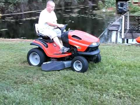 Scotts L2548 25HP lawn tractor mowing the yard