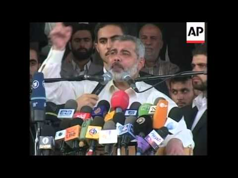 Thousands gather to back Hamas govt, PM Haniyeh speech, more