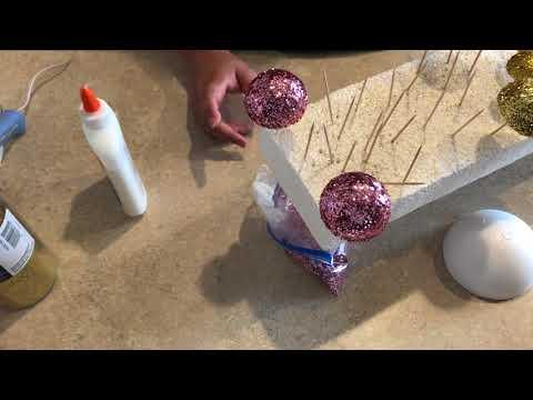 How to Make Glitter Styrofoam Ball for you Paper Flower Fluffy Center