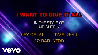 Air Supply - I Want To Give It All (Karaoke)