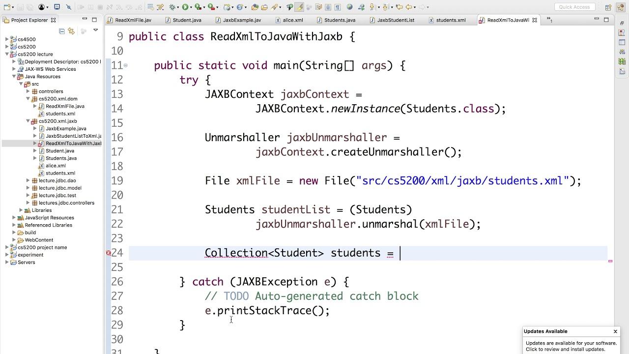 00725 Reading XML to Java Object List with JAXB