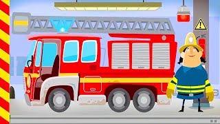 Мультик про смешных пожарных. Машина с мигалками и сиреной спешит на помощь горящему дому