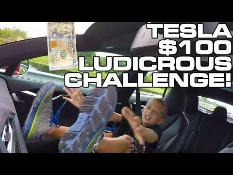 $100 Bill Tesla Model S P90D Ludicrous Challenge